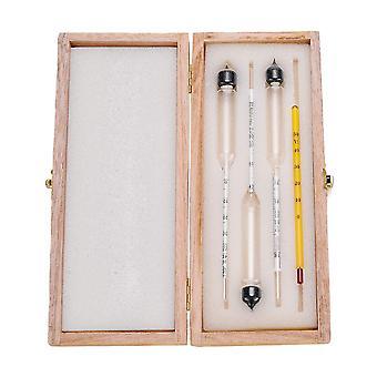 Idrometro Alcohol Meter Wooden Box Set