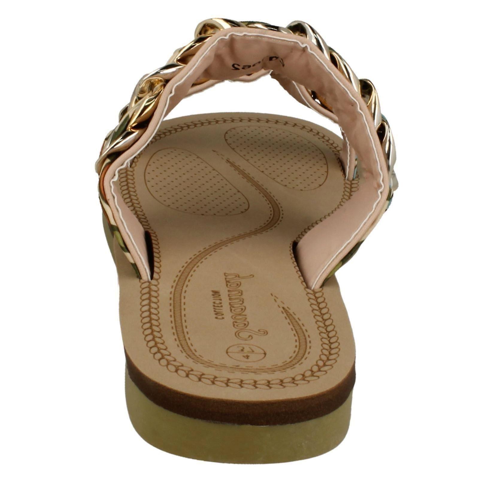 Ladies Savannah Flat Dobbel Flettet Stroppen Sandaler F00062