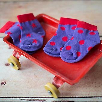 Blade & roze paars Polka Dots Kinder sokken