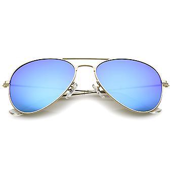 Óculos de sol aviador lente de espelho colorido do quadro clássico Metal fosco 57mm
