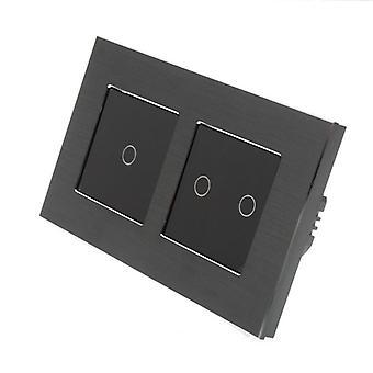 Eu LumoS alumínio escovado duplo quadro 3 Gang 1 toque de maneira remota & Dimmer LED luz negra alternar Insert preto