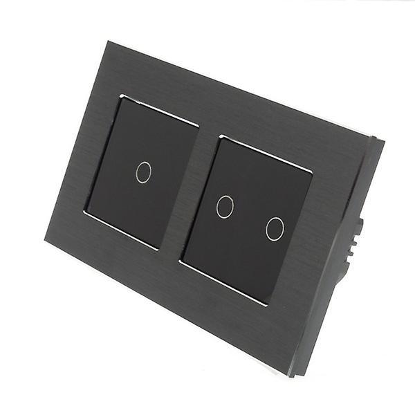 I LumoS Black Brushed Aluminium Double Frame 3 Gang 2 Way Touch LED Light Switch Black Insert