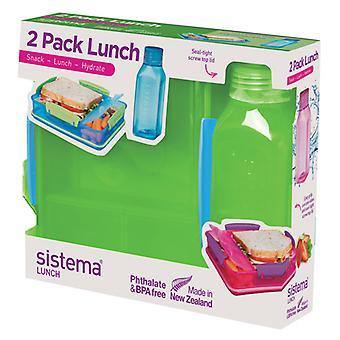 システマー昼食パック、ランチ ボックス、水筒、ライム グリーン