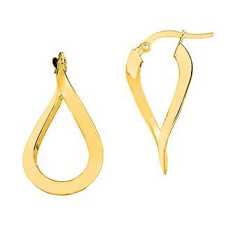 14K goud 3MM glimmend golvende Hoop Earrings Hoop Earrings