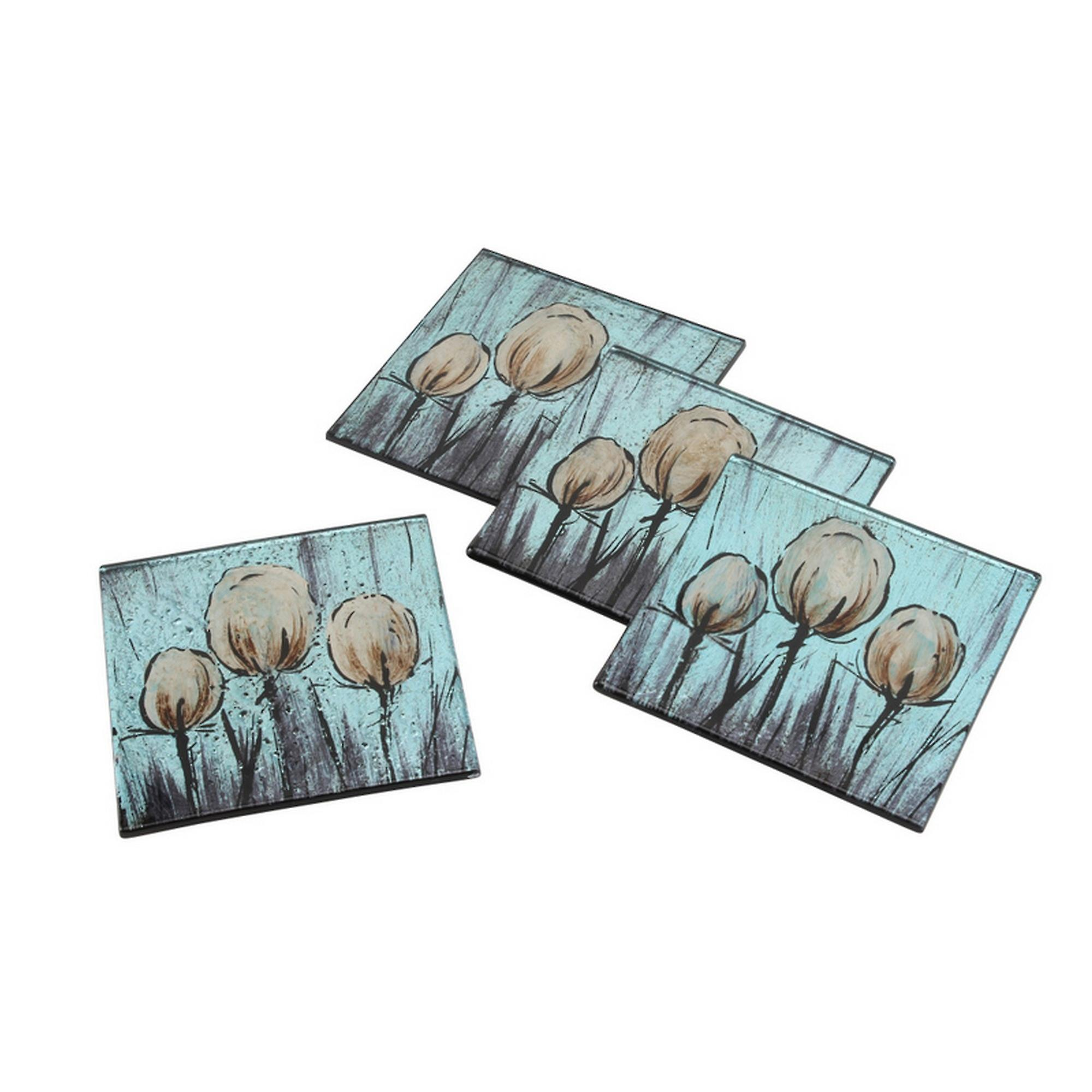 CGB Giftware Tulip Glass Square Coasters (Set Of 4)