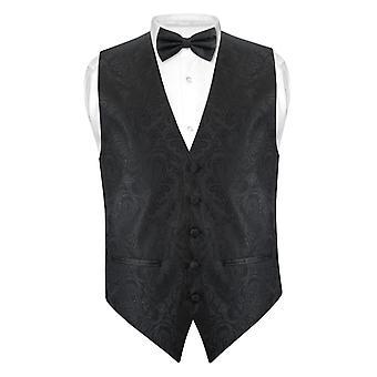 Mannen Paisley SLIM FIT jurk Vest strikje BOWTie zakdoek instellen