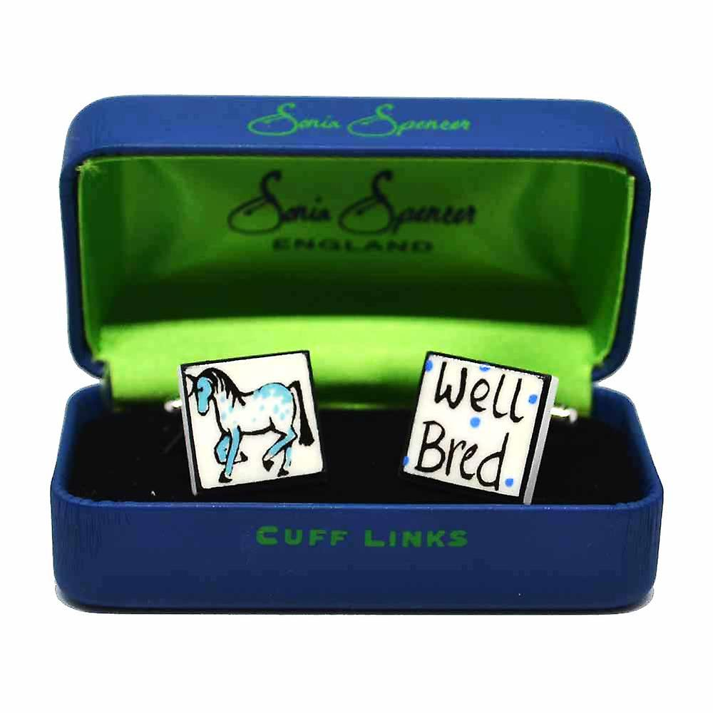 Sonia Spencer Well Bred - Mare Cufflinks - English Bone China Hand Crafted Cuff Links