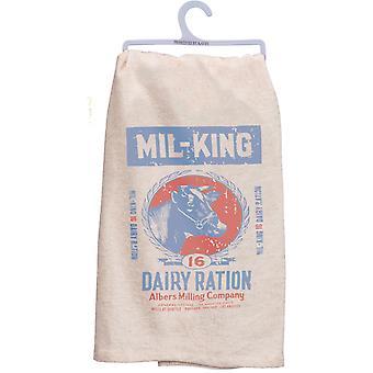 Traire une vache laitière imprimé cuisine plat serviette coton