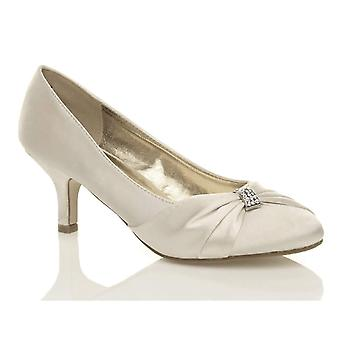 Ajvani womens low mid heel ruched diamante evening prom wedding bridal shoes