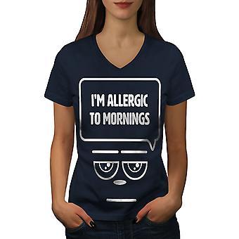 Allergic Mornings Funy Women NavyV-Neck T-shirt | Wellcoda