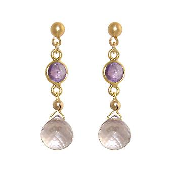GEMSHINE earrings with amethysts, violet drops. High-quality gold-plated.