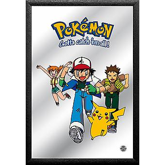 Pokémon ash & friends mirror colored printed, plastic framing black, wood look.
