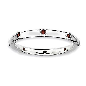 925 Sterling Silver Bezel Polished Stackable Expressions Garnet Ring Jewelry Gifts for Women - Ring Size: 5 to 10