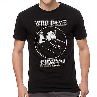 Funny Who Came First Hen Egg Graphic Men's Black T-shirt