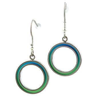 TI2 titanio retrò piccola goccia orecchini - verde/blu