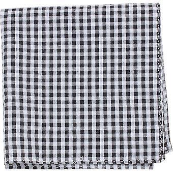 Knightsbridge Krawatten Gingham überprüft Baumwolle Einstecktuch - schwarz/weiß