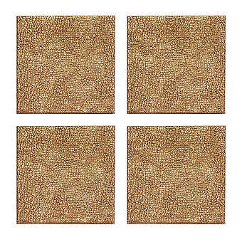 iStyle set 4 suporturi metalice din imitație de piele, auriu