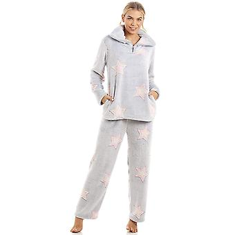 Camille luxuriöse Supersoft Fleece leichte graue Star Print Pyjama-Set