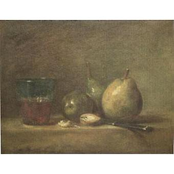 Pears Walnuts and a Glass of Wine, Jean Baptiste Simeon Chardin, 33x41cm