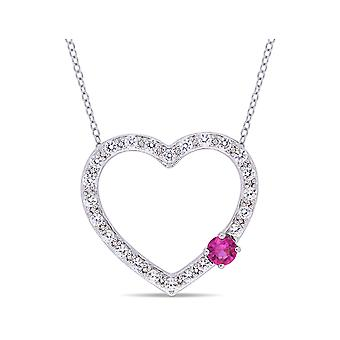 1.10 Carat (ctw) Lab Creared Red and White Sapphire Heart Pendant Necklace in Sterling Silver with Chain