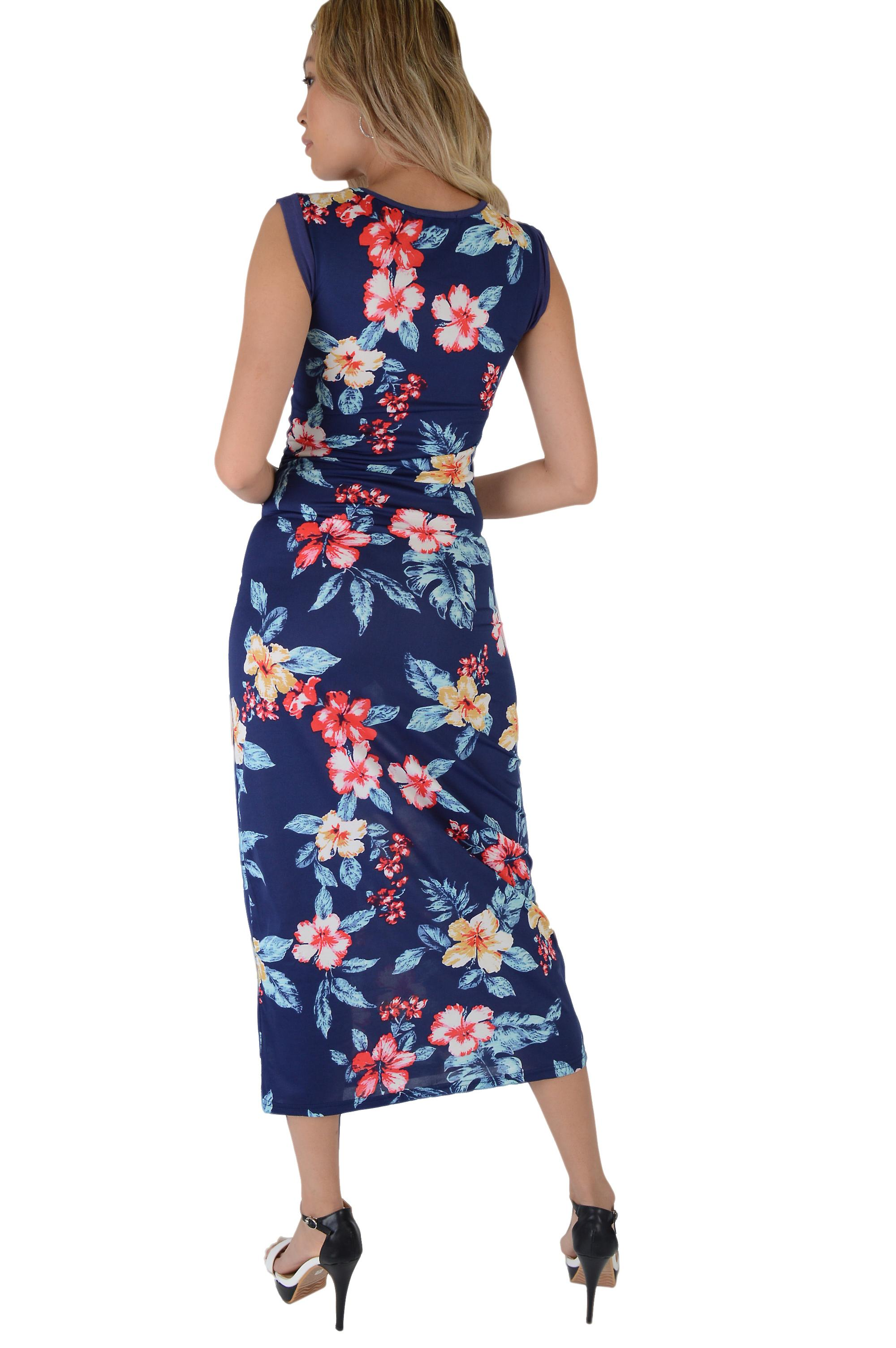 Lovemystyle Navy Blue Floral Bodycon Maxi Dress - SAMPLE