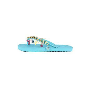 Lovemystyle Blue Flip Flops With Gold Chain And Charm Strap