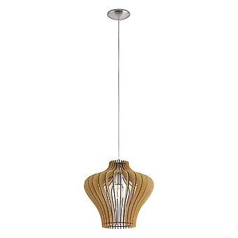 Eglo - Cossano 2 Single Light Ceiling Pendant With Maple Wooden Shade EG95256