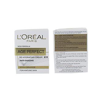 L'Oreal Age Perfect Re-Hydrating Eye Cream 15ml Anti- Sagging for Mature Skin (Soya Peptides)