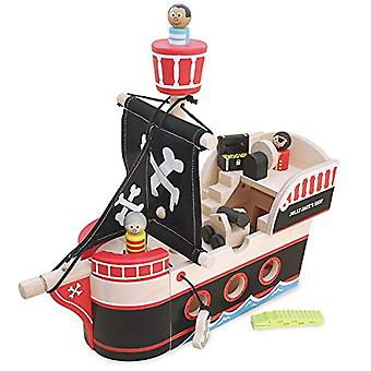 Indigo Jamm Jolly Jack's piratenschip - compleet met 3 houten piraten, A Treasure Chest, krokodil & Canon