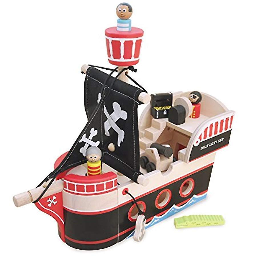 Indigo Jamm Jolly Jack's Pirate ship - Complete With 3 Wooden pirates, A Treasure Chest, Crocodile & Canon