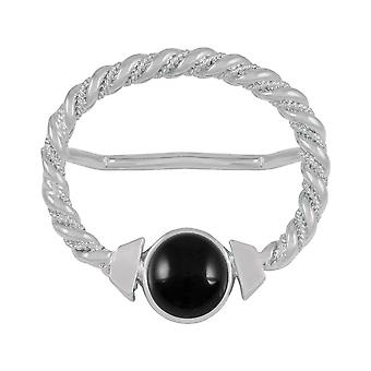 Eternal Collection Maxi Black Onyx Large Silver Scarf Ring