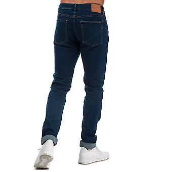 Mens Ringspun Poseidon Relaxed Skinny Fit Jeans In Denim-Zip Fly-Belt Loops To