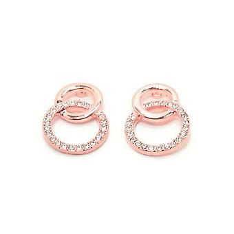 VIP Rose Gold Plated Crystal Set Double Circle Stud Earrings