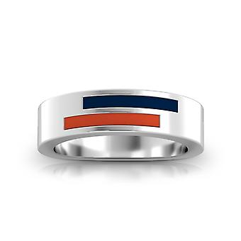Houston Astros Sterling Silver Asymmetric Enamel Ring In Blue and Orange