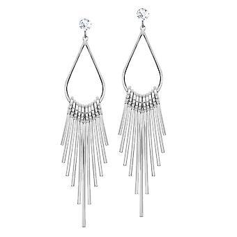 Éternelle Collection Sonora Clear Crystal Silver Tone Drop boucles d'oreilles