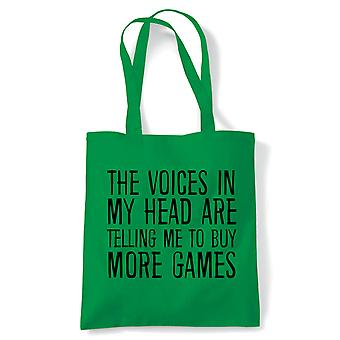 Voices In My Head Buy More Games, Tote - Gamer Reusable Shopping Canvas Bag Gift
