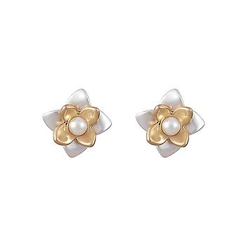 Fable Womens/Ladies Two Tone Flower Earring Studs