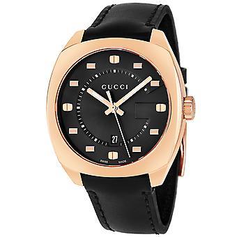 Gucci Ya142309 zwarte wijzerplaat Rose Gold-Tone heren horloge