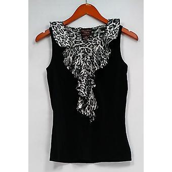 Kathleen Kirkwood Top Animal Print Ruffle Detail V-neck Black A224167