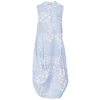 Blueberry Italia Linen Geometric Print Dress