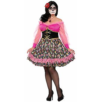 Day Of The Dead Senorita Mexican Spanish Skull Halloween Women Costume Plus