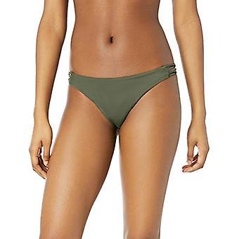 RVCA Junior's Solid Medium Loop Side Bikini Bottom, Forest, S