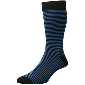 Pantherella Farringdon Cotton Lisle Socken - Schwarz/Blau