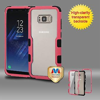 MYBAT Natural Pink Frame-Transparent PC Back/Black TUFF Vivid Hybrid Case pour Galaxy S8 Plus