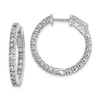 925 Sterling Silver Hinged Polished Safety clasp Rhodium banhadcz Cubic Zirconia Simulado Diamante Round Hoop Brincos de Argola Redonda