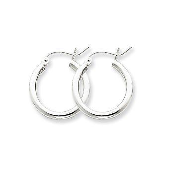 925 Sterling Silver Polished Hollow tube Hinged post Rhodium-plated 2mm Hoop Earrings - 1.2 Grams