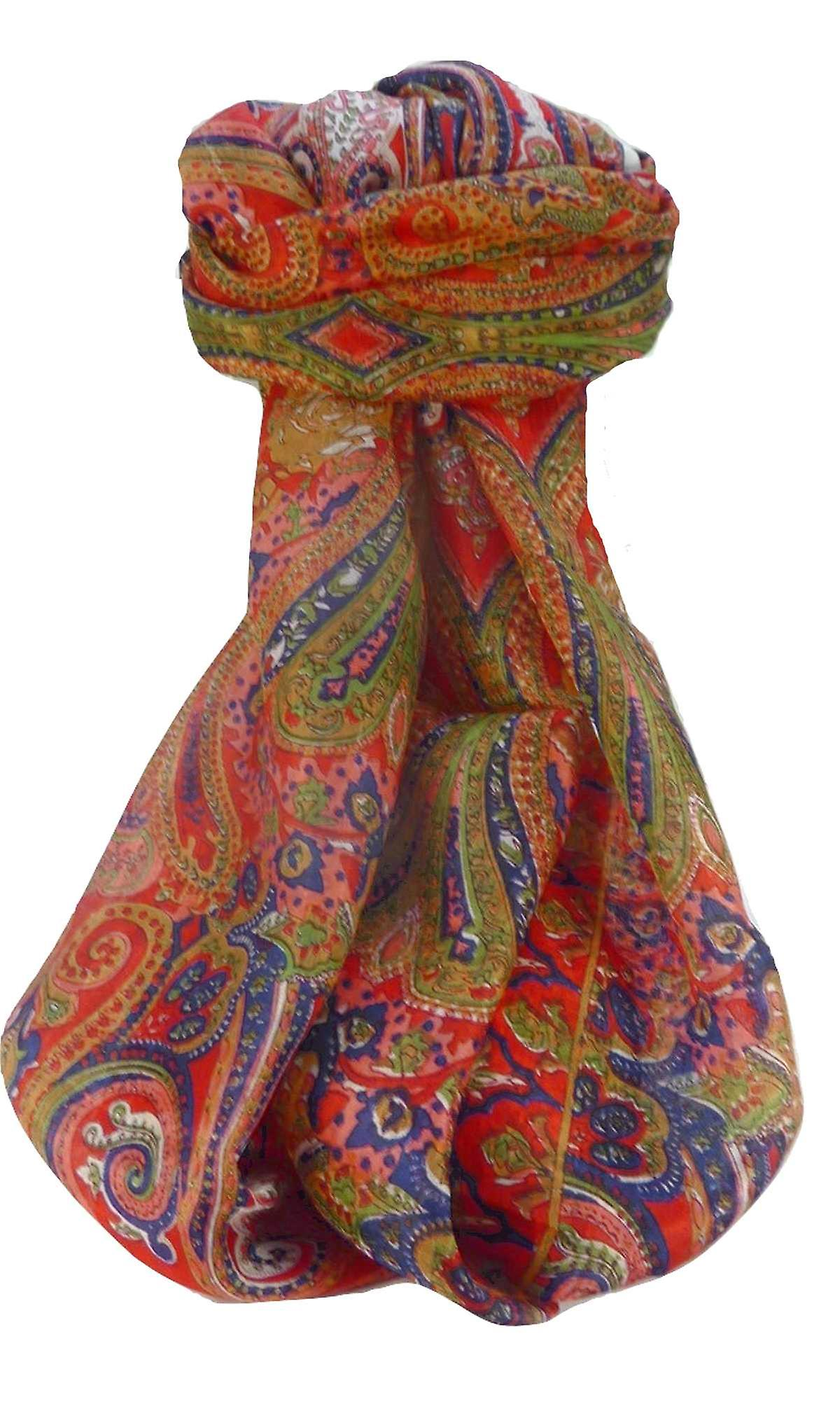 Mulberry Silk Traditional Long Scarf Monali Scarlet by Pashmina & Silk