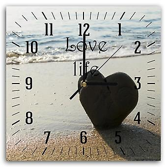 Decorative Clock With Picture On The Beach Heart