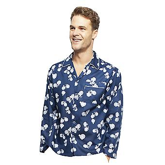 Cyberjammies 6418 Men's Harper Blue Mix Bicycle Print Cotton Long Sleeve Pyjama Top