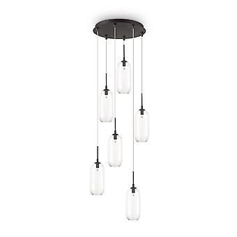 Ideal Lux Yoga 6 Light Cluster Pendant Light Black IDL173023